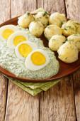 Tradiční zeleninová omáčka Frankfurter Gruene Sosse s vařenými brambory a vejci na talíři. vertikální