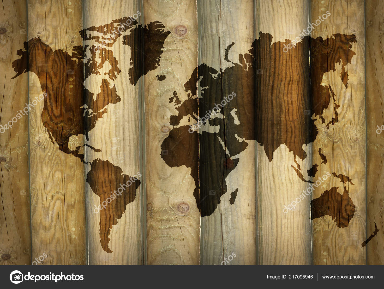 Shadow World Map Projecting Wooden Planks Background — Stock ...