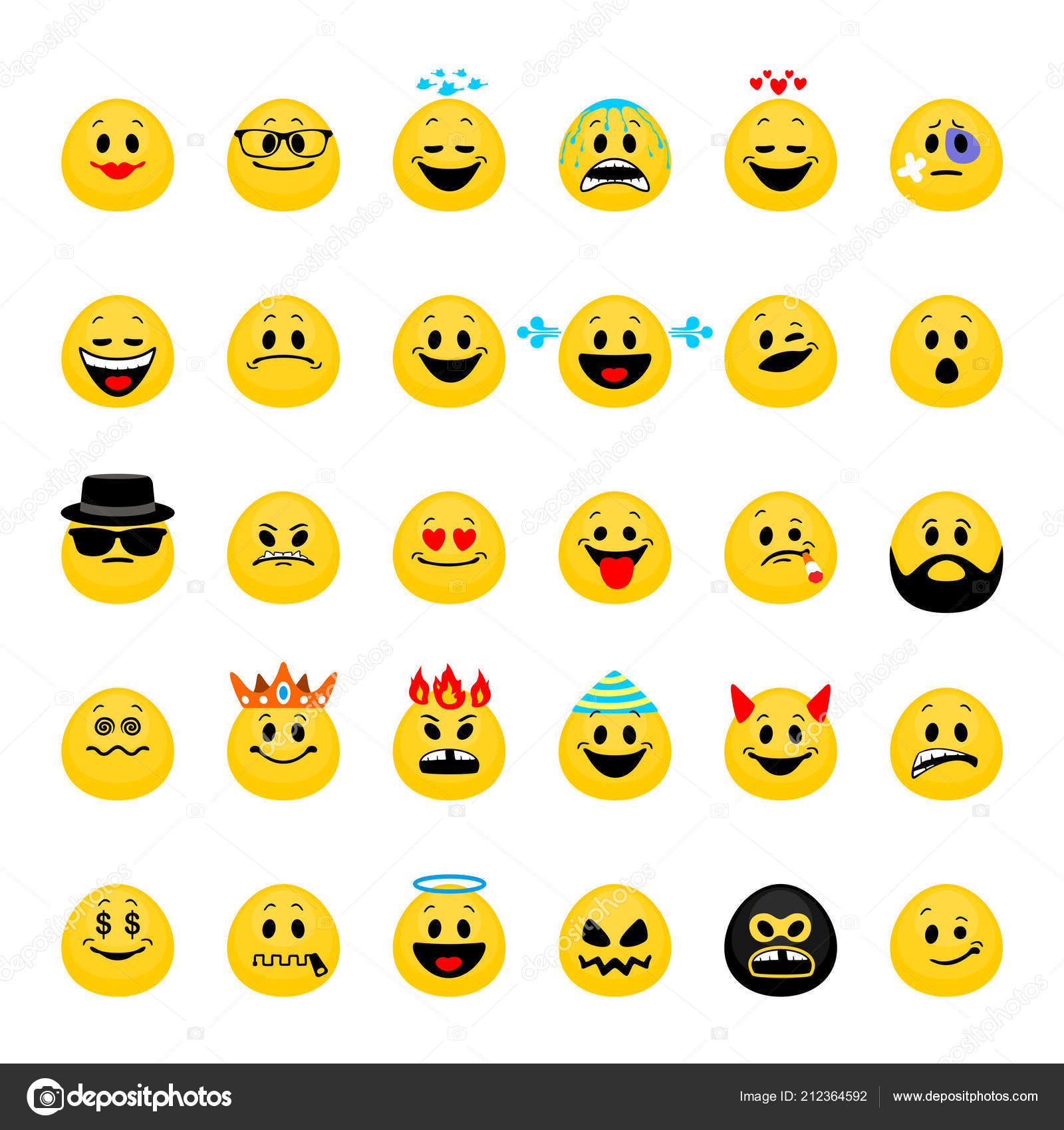 Vector Set Emoji Collection Smiley Emoticons Flat Style Isolated
