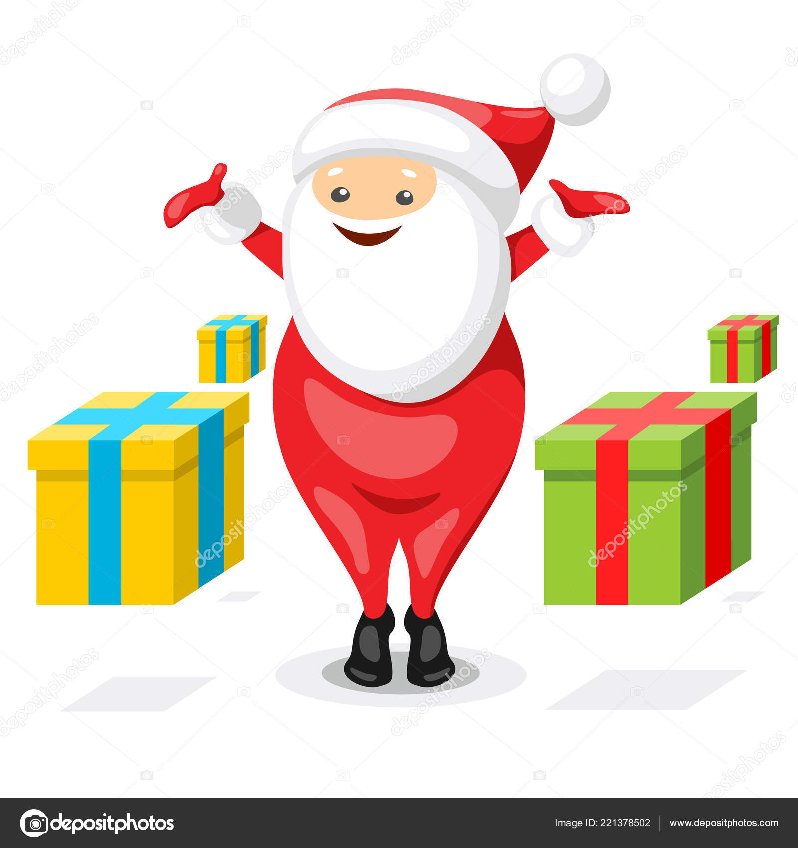 Concept Christmas Post Office Happy Santa Claus Sending Gift Boxes ...