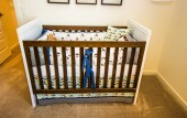 Wooden Baby Crib With Wooden Rails