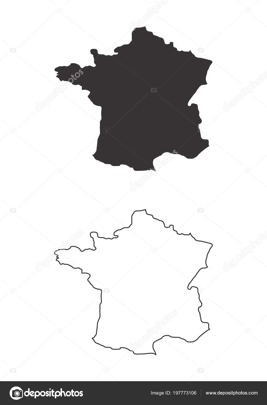 Image of: Black And White Map Of France Simplified Maps France Black White Outlines Stock Vector C Luisrftc 197773106