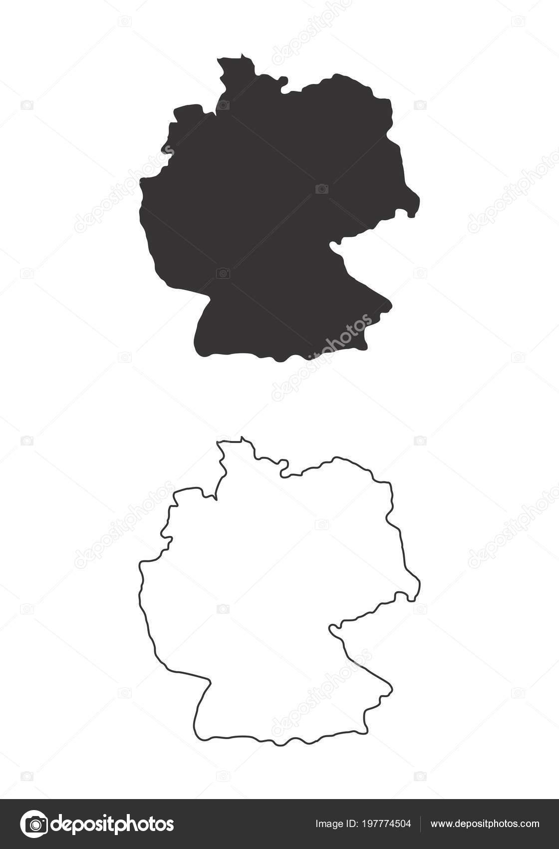 c1ed40c2dce795 Vereinfachte Karten Von Deutschland Schwarz Weiß Umrisse — Stockvektor