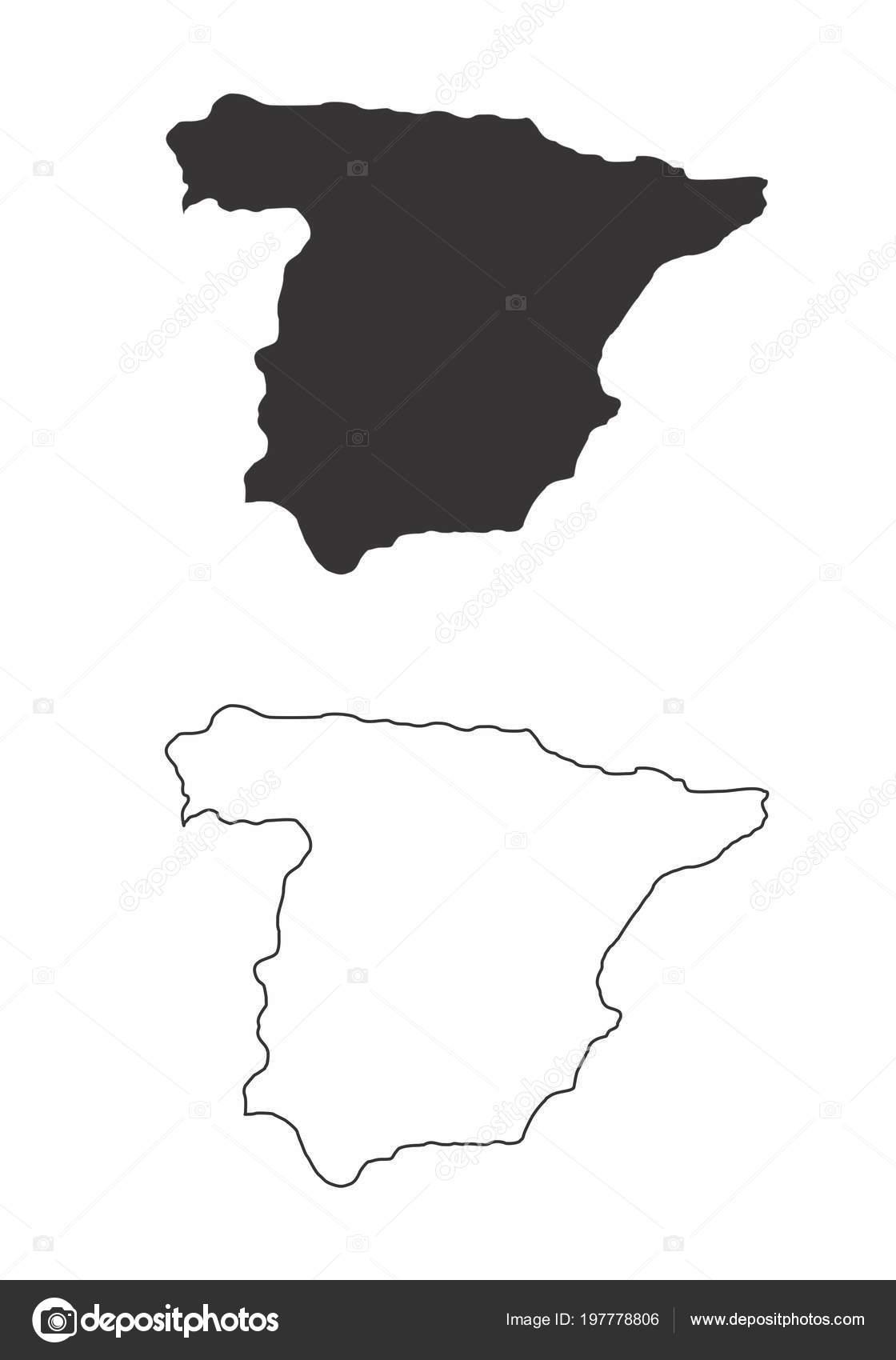 Spanien Karte Schwarz Weiß.Vereinfachte Karten Von Spanien Schwarz Weiß Umrisse Stockvektor
