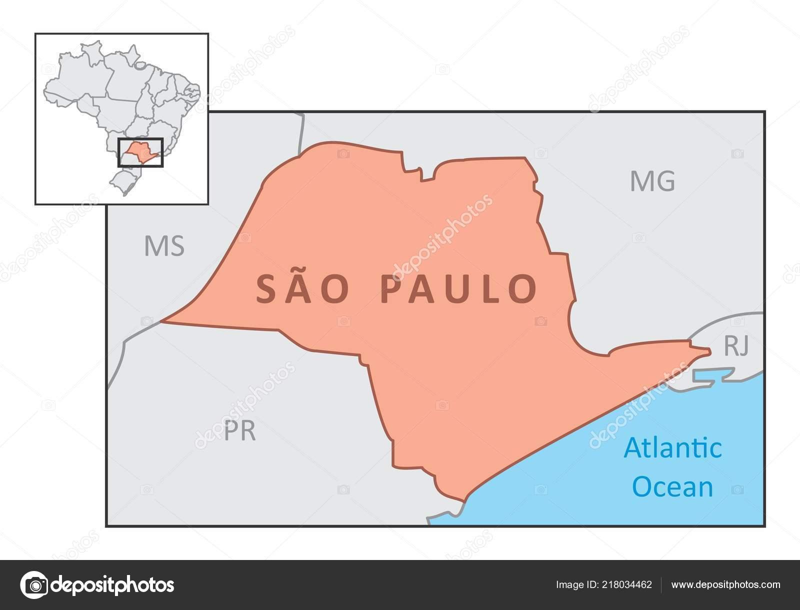 Sao Paulo State Map.Map State Sao Paulo Its Location Brazilian Territory Stock Vector