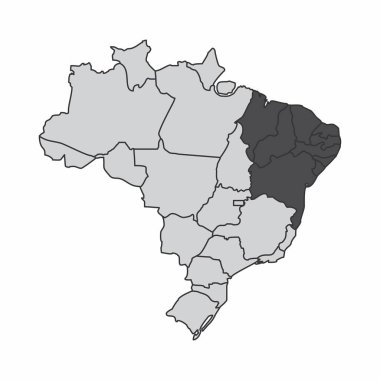 Illustration of a map of Brazil with the northeast region highlighted