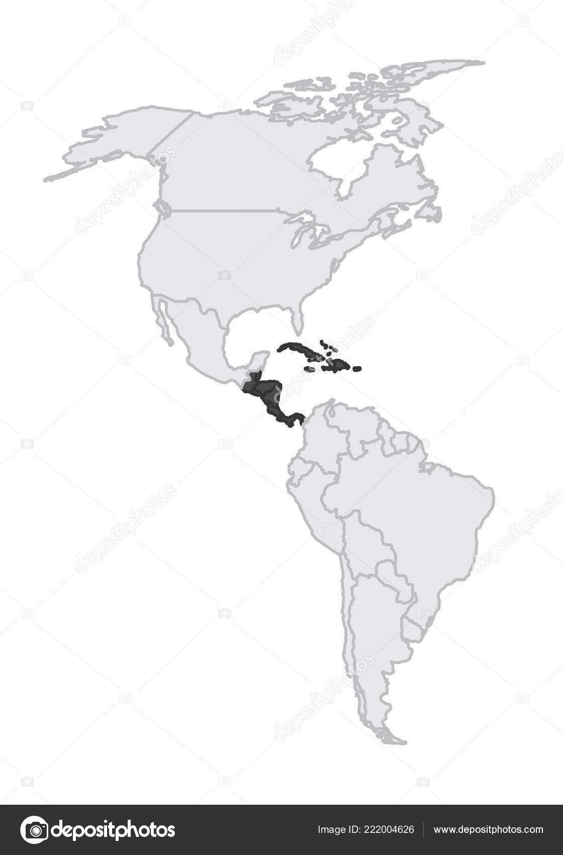 Map American Continent Central America Caribbean Highlighted — Stock ...