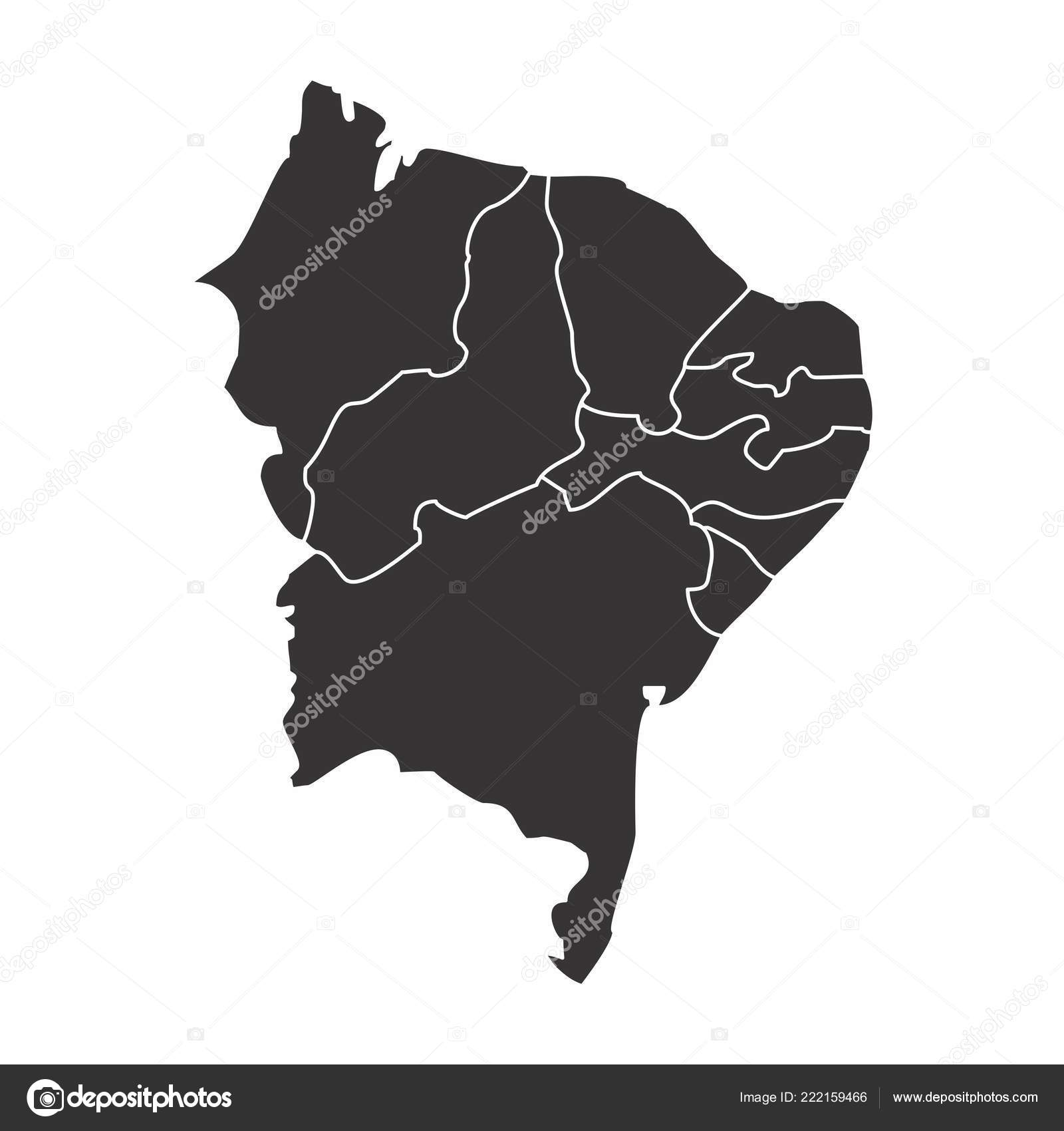 Map Brazil Northeast Region Isolated White Background — Stock Vector ...