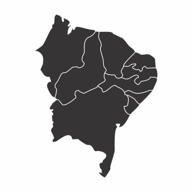 Map of the Brazil northeast region isolated on white background