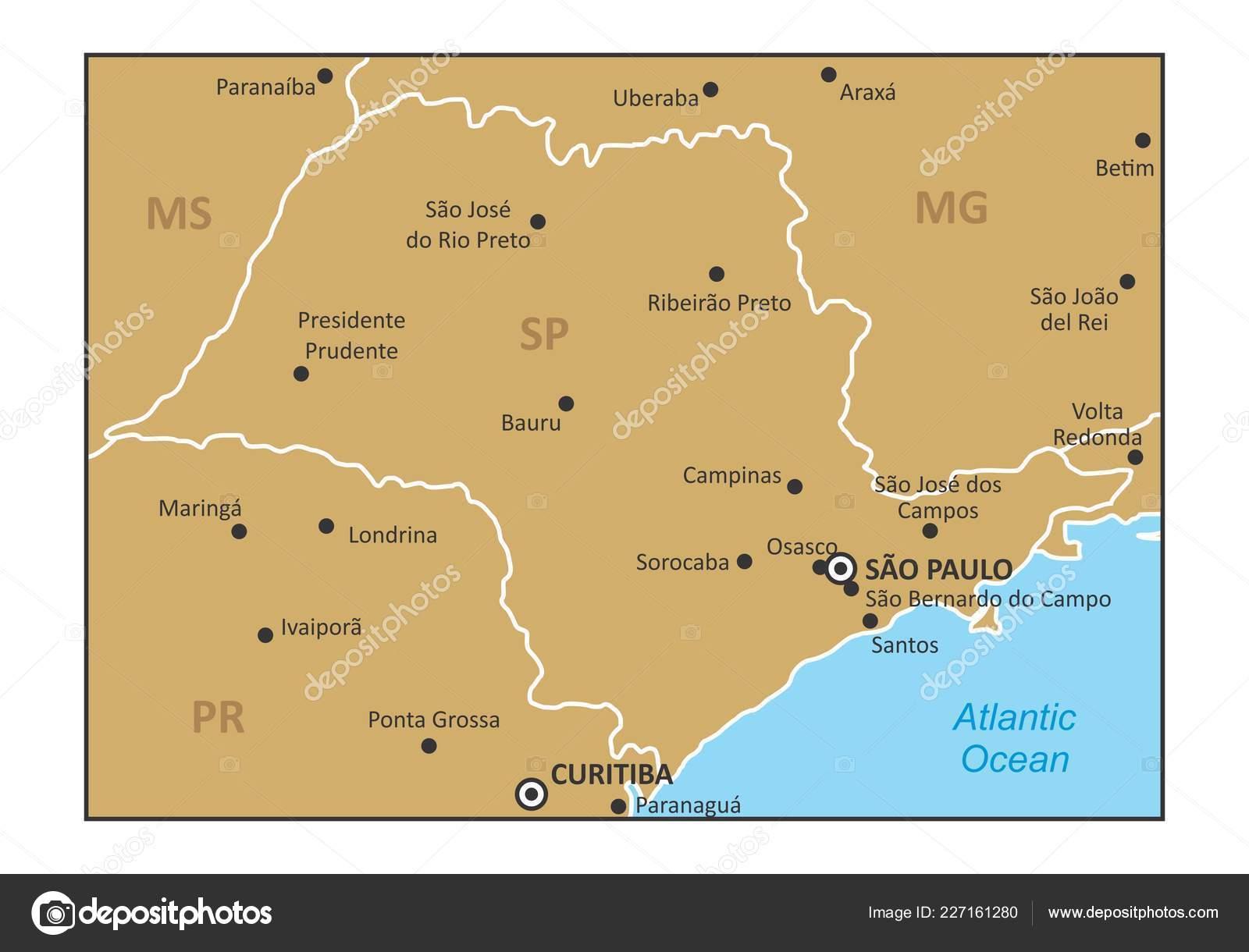 Sao Paulo State Map.Map Sao Paulo State Region Brazil Southeast Some Main Cities Stock
