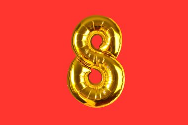 Number eight of golden helium balloons, isolated for your design
