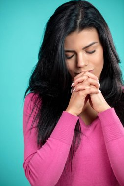 Close up vertial shot of woman crying quarter. strong desire. pray concept. girl is repenting her sins stock vector