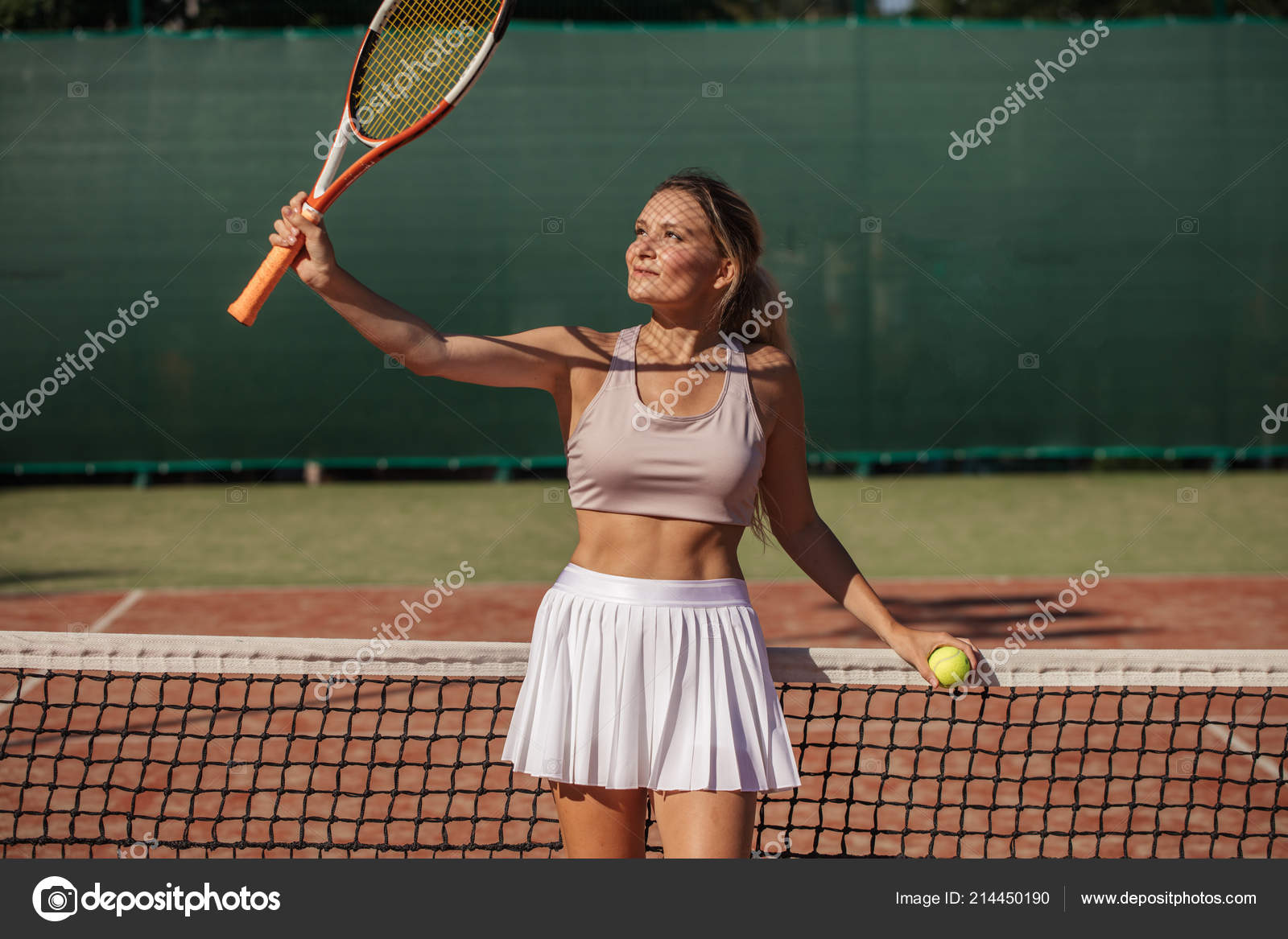 Professional Sportswoman Tennis Outfit Standing Racket Ready Stance Receive Ball Stock Photo C Ufabizphoto 214450190