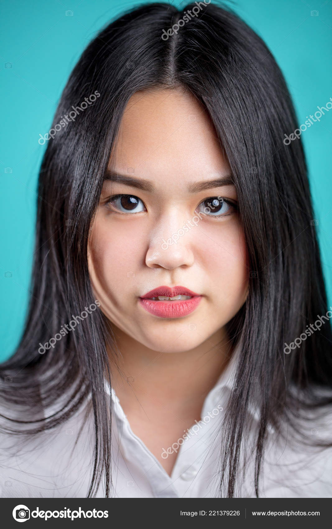 Close Up Portrait Of Long Hair Asian Woman With White Shirt Stock