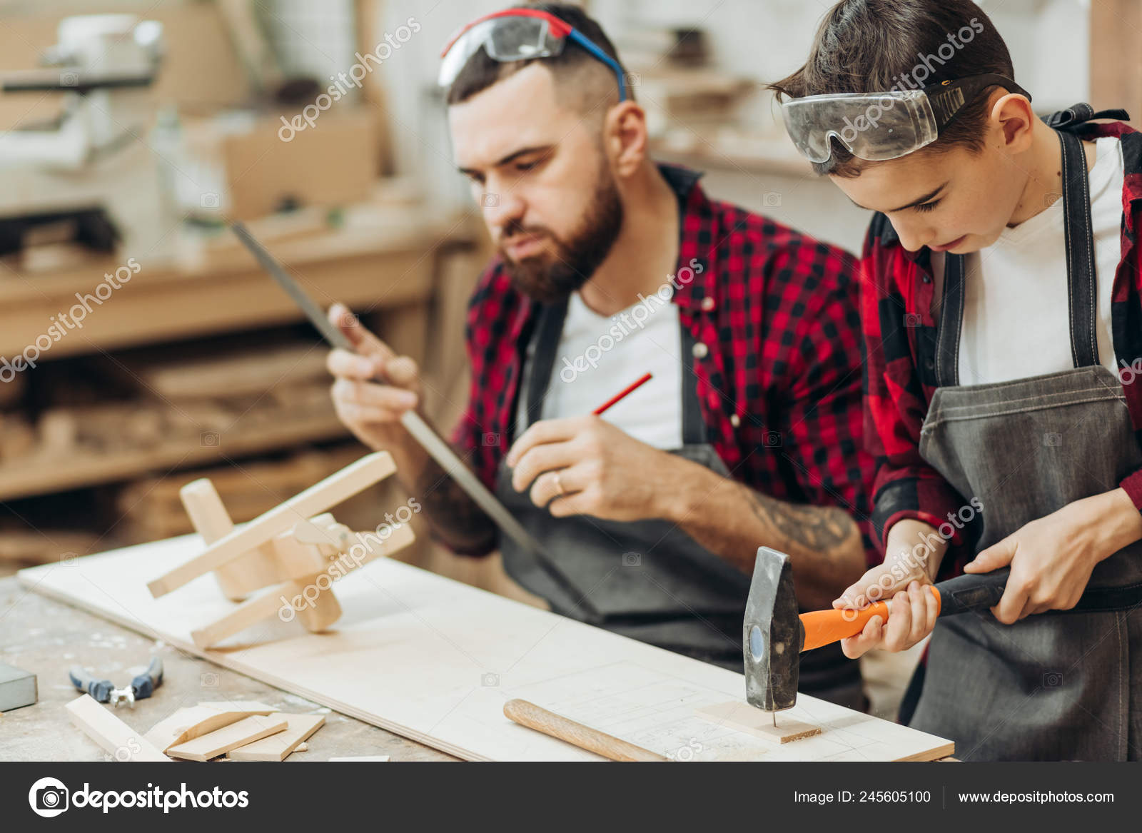 Woodwork Classes For Children And Creativity Concept Stock Photo