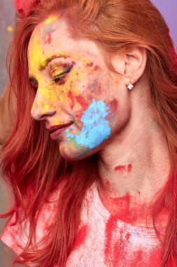 """Картина, постер, плакат, фотообои """"красочное женское лицо. профиль красивой женщины с мазками портрет фото"""", артикул 294632136"""