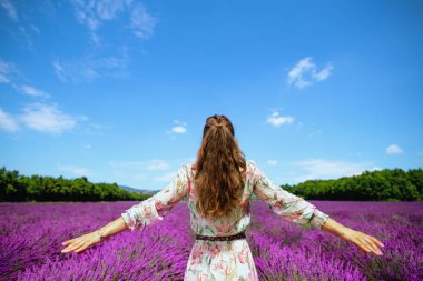 Seen from behind stylish woman in summer dress in lavender field in Provence, France rejoicing. healthy living on country side. escape from urban worries. Summer agritourism on south region of France stock vector