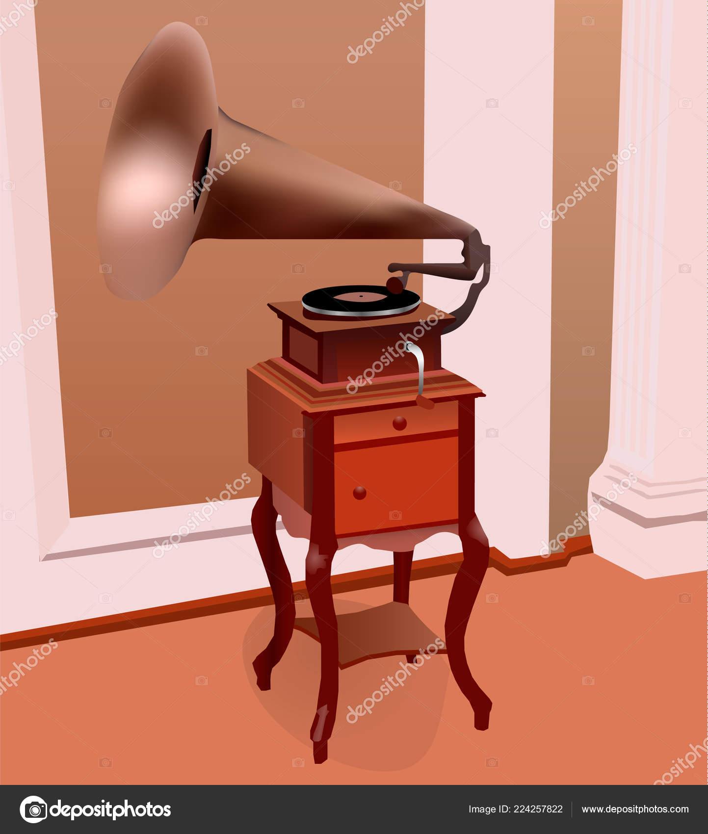 Ancient Gramophone Room Last Century Retro Gramophone Copper