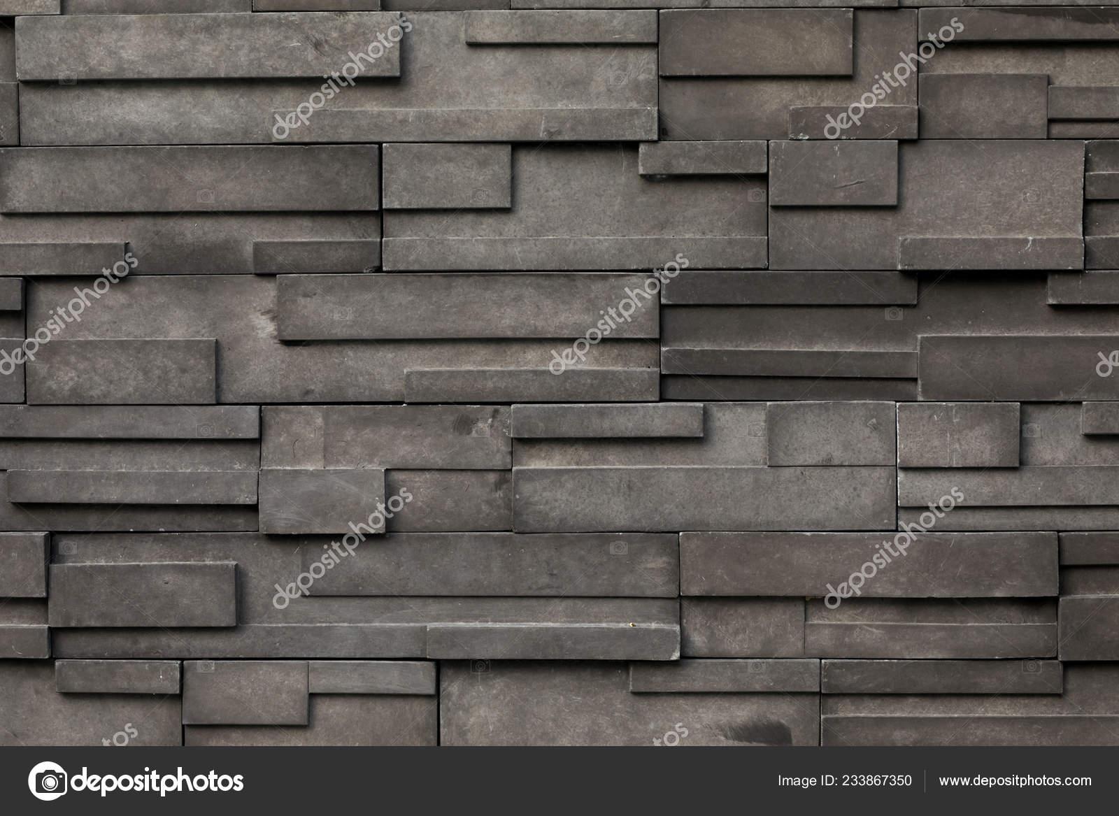 Pattern Decorative Black Slate Stone Wall Surface Stock