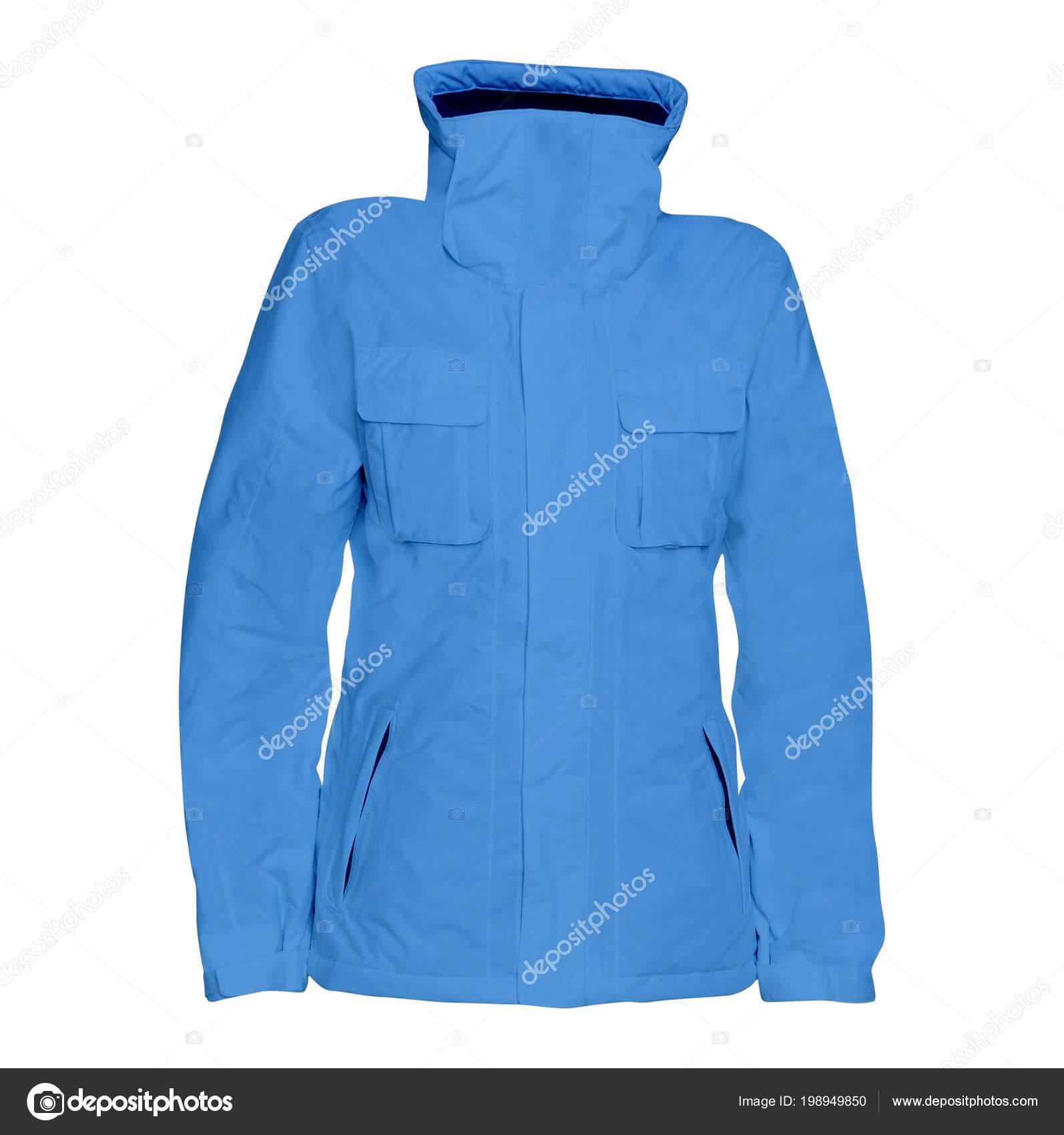 c49f5d0481d Μπλε Ανδρικό Χειμερινό Μπουφάν Που Απομονώνονται Λευκό Φόντο — Φωτογραφία  Αρχείου