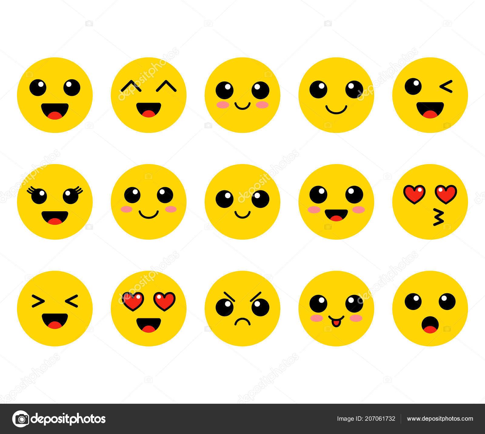 Set Emoji Kawai Yellow Faces C...