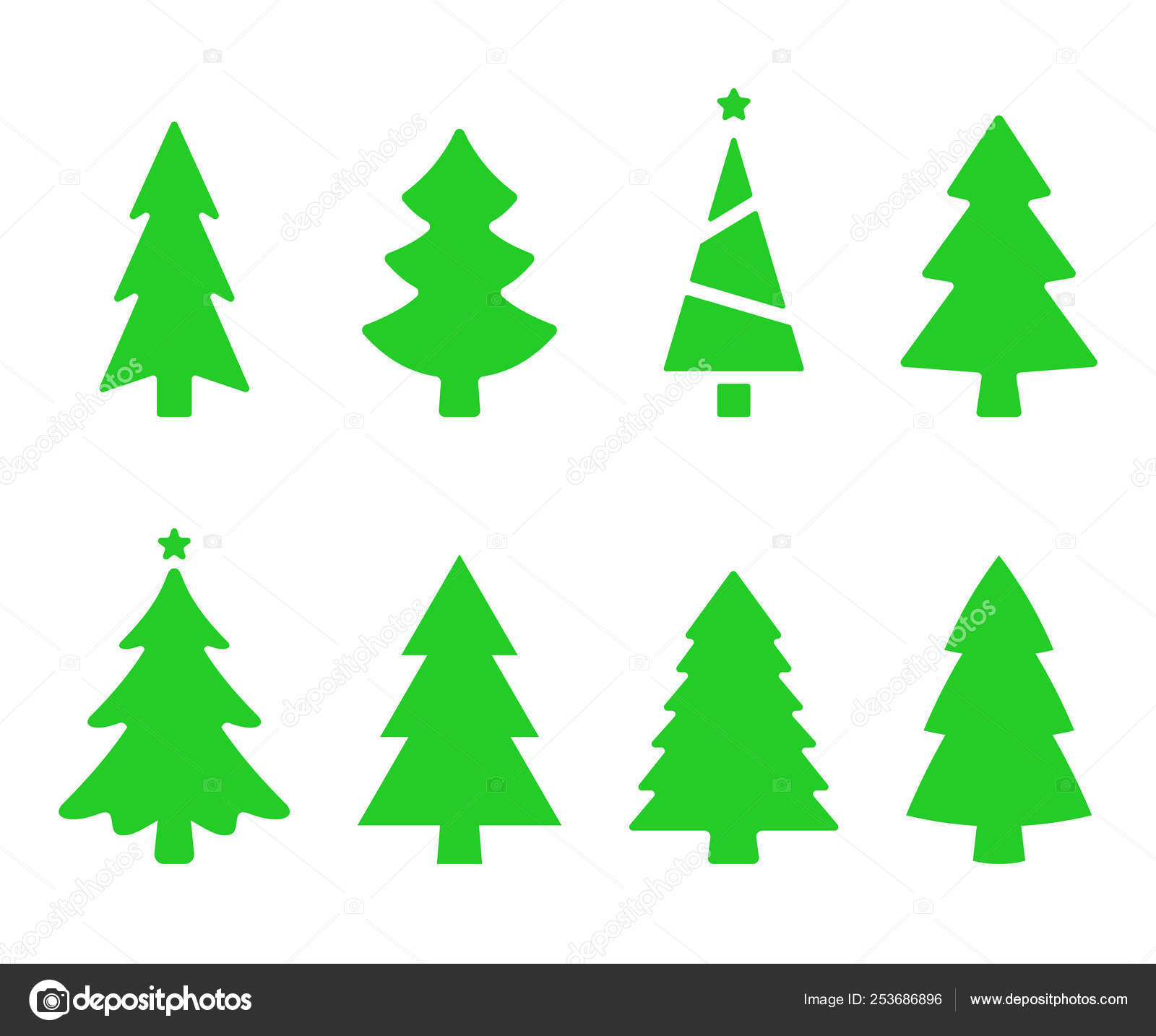Christmas Trees Silhouette.Vector Collection Of Christmas Trees Christmas Tree