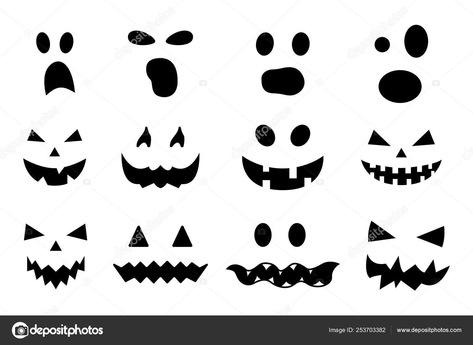 Vector Set Of Halloween Pumpkin Faces Isolated On White Background
