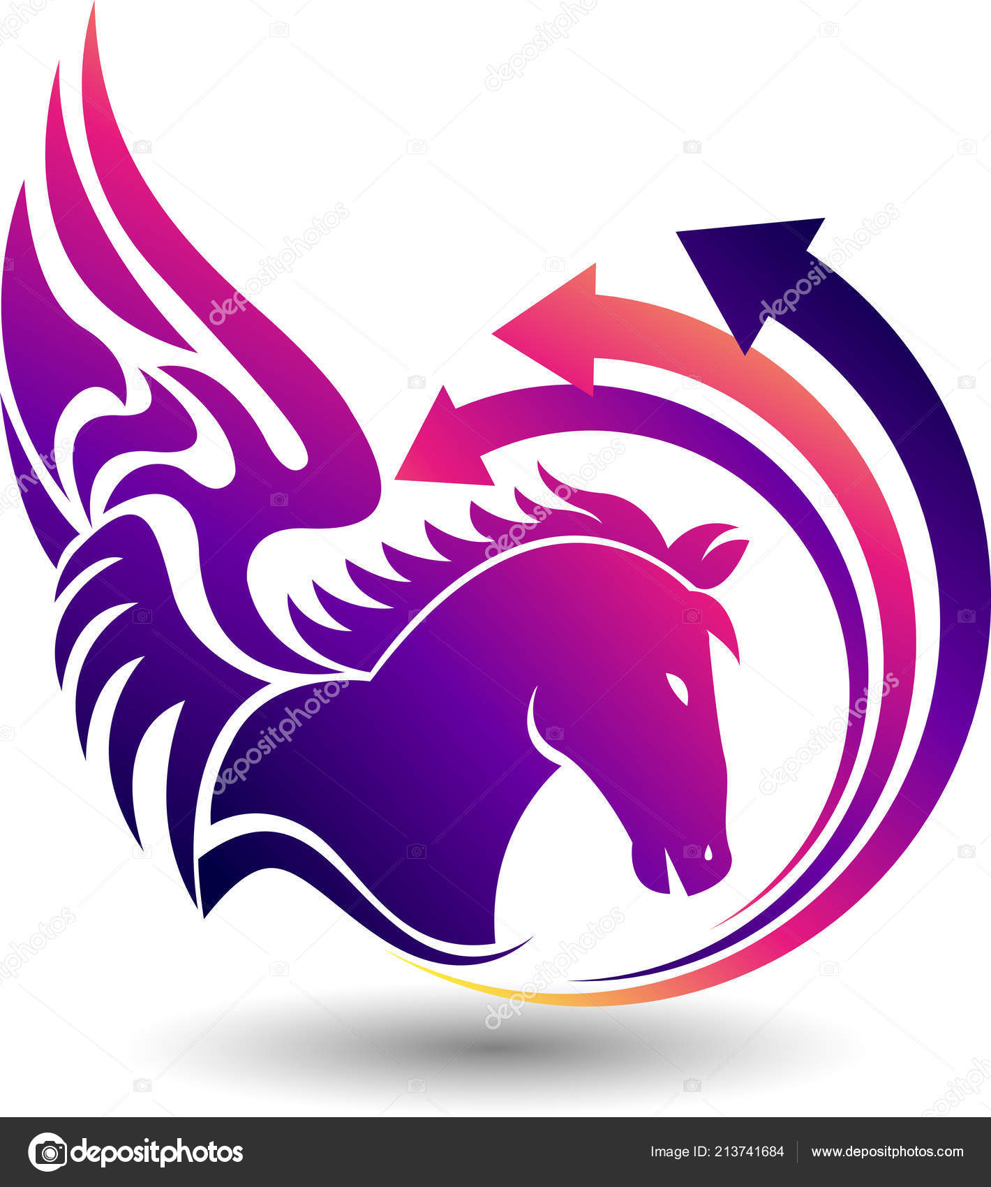 Illustration Art Fly Horse Logo Isolated Background Stock Vector C Magagraphics 213741684