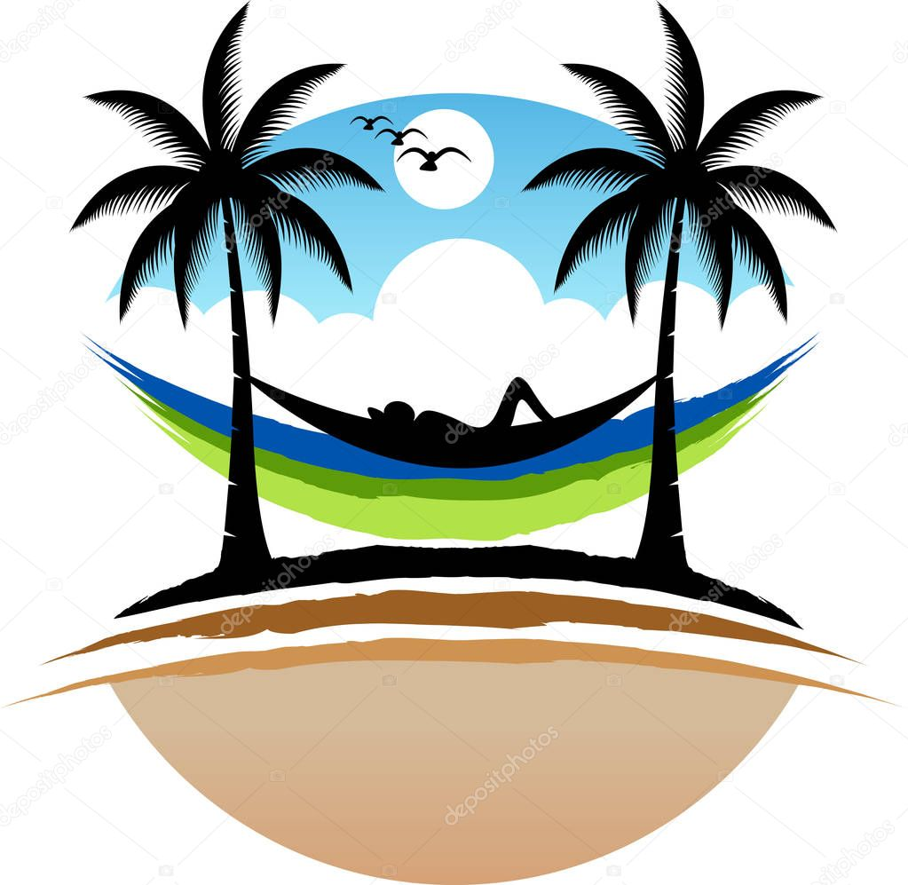 Illustration art of a natural relax logo with isolated background