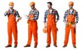 koláž z hezký opravář v oranžové uniformě psaní v poznámkovém bloku a mluví na smartphone izolované na bílém