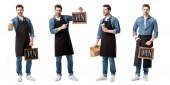Fotografie Collage eines gut aussehenden Verkäufers in Schürze mit Schild, Tasse Kaffee und Papiertüte isoliert auf weiß