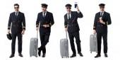 koláž z hezký pilot v černé jednotné postavení s kufrem, pas a šálek kávy, izolované na bílém