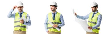 collage of handsome architect wearing green vest and hardhat with blueprints isolated on white