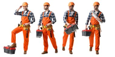 collage of handsome repairman in orange uniform holding tool case and blueprints isolated on white