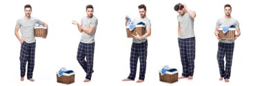 Collage of handsome young man in pajama looking and holding laundry basket isolated on white stock vector