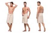 Collage eines gut aussehenden jungen Mannes, der Unterkörper mit Handtuch umhüllt, Oberkörper ohne Kleidung isoliert auf weiß