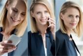 koláž z mladé blond podnikatelka na smartphone na pracovišti v úřadu