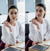 koláž z mladých bruneta podnikatelka sedí na pracovišti v úřadu