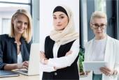 koláž různých národností a podnikatelky věku používat miniaplikace na pracovišti v úřadu