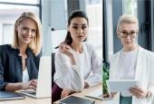 koláž různých věkových podnikatelky používání miniaplikací na pracovišti v úřadu