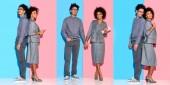 koláž z mladých africká americká podnikatelka a drželi se za ruce a práci s miniaplikace na modré a růžové pozadí