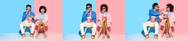 collage of young african american man and woman putting on dark glasses, sitting and eating popcorn on blue and pink background