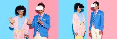 collage of young african american man and woman having fun with virtual reality headset on blue and pink background