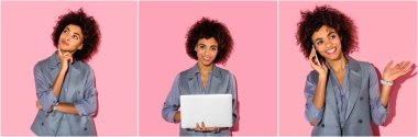 collage of young african american businesswoman thinking, using laptop and talking on smartphone on pink background