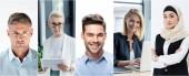 collage di uomini bei ritratti su sfondo bianco e imprenditrici di età differente utilizzo dei gadget sul posto di lavoro in ufficio