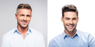 collage of portraits handsome men in white and blue shirts on gray and white background