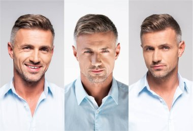 collage of portraits handsome middle age man in white and blue shirts on gray background