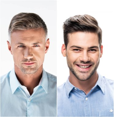 Collage of portraits handsome men in white and blue shirts on white background stock vector