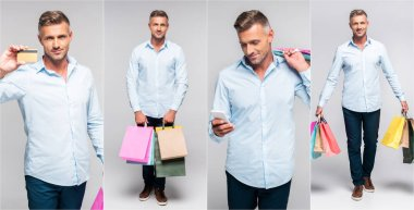 collage of handsome middle age man holding multicolored shopping bags, smartphone and credit card on gray background