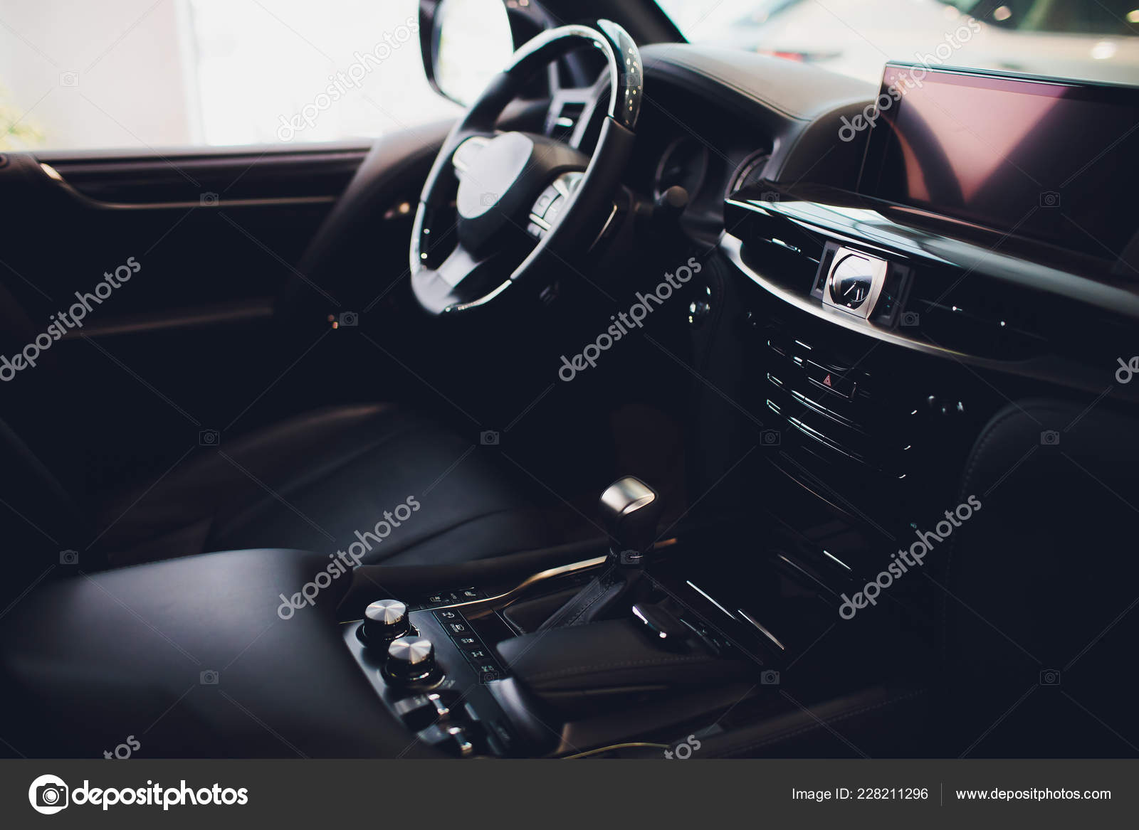 Car Leather Upholstery >> Leather Upholstery Inside The Car Modern Interior Stock